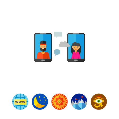 smart man: Man and woman communicating via their smartphones. Communication via mobile phones, mobile communication, webcast, web meeting. Communication concept. Can be used for topics like business, mobile technology, web communication