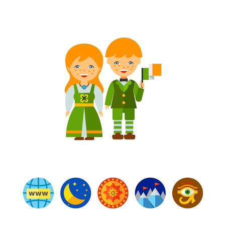 Redheaded freckled couple in traditional Irish costume waving flag. Irish traditional dress, Irish people, national culture. Ireland concept. Can be used for topics like travel, tourism, geography