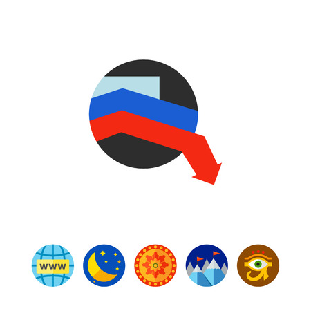 declining: White, blue and red lines over black circle declining one by one. Economic crisis, recession, decline. Can be used for topics like economic crisis, finance, Russian economy