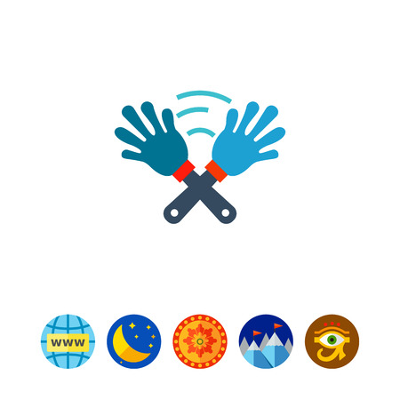 pairs: Vector icon of crossed hand clap toys. Clapper, applause, noisemaker. Fan concept. Can be used for topics like football, fan culture, party