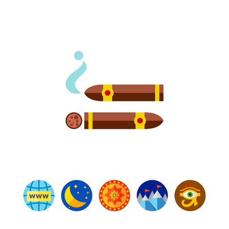Icon of Cuban cigars. Tobacco, smoking, luxury. Addiction concept. Can be used for topics like healthcare, lifestyle, nicotine Illustration