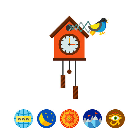 Illustration of cuckoo clock. Time, clock, hour hand, minute hand. Time concept. Can be used for topics like time, clock, time measurement Illustration