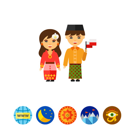 Couple in Indonesian national dress icon