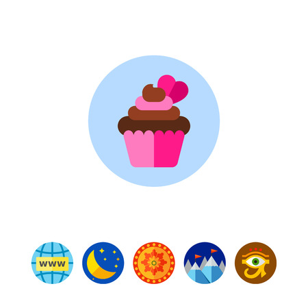 cupcakes isolated: Cupcake with Heart Icon