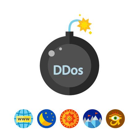 ddos: Ddos attack concept icon