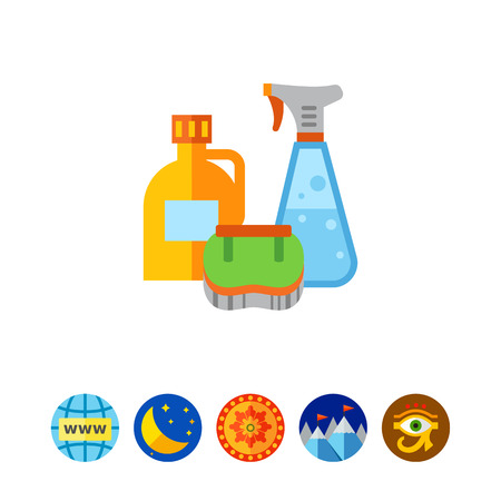 Detergents and brush icon Illustration