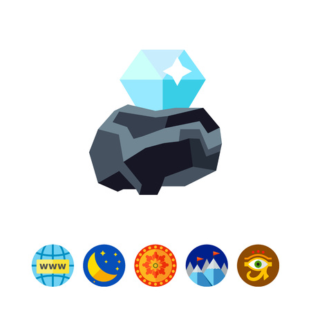 Diamond in rough vector icon