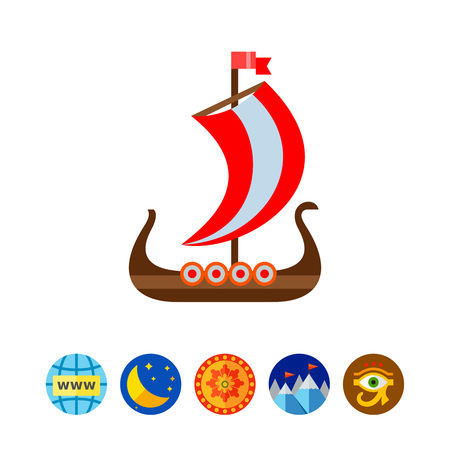Drakkar Viking ship vector icon