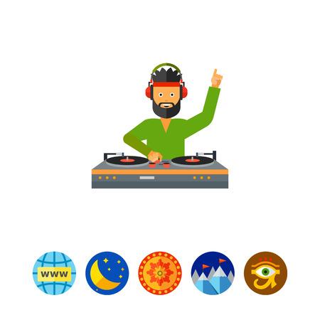 DJ Man Using Mixer Icon