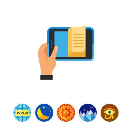 E-book in hand icon Illustration