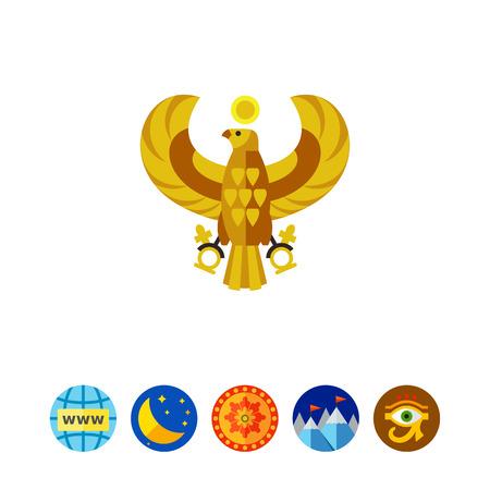 Egyptian horus falcon vector icon