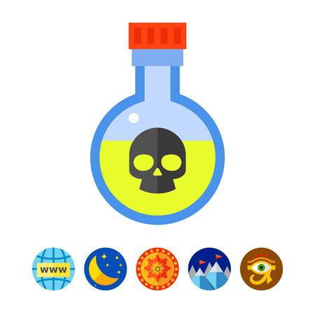 Poison in flask vector icon