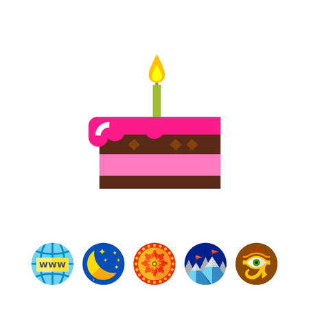 Piece of Cake with Candle Icon Illustration