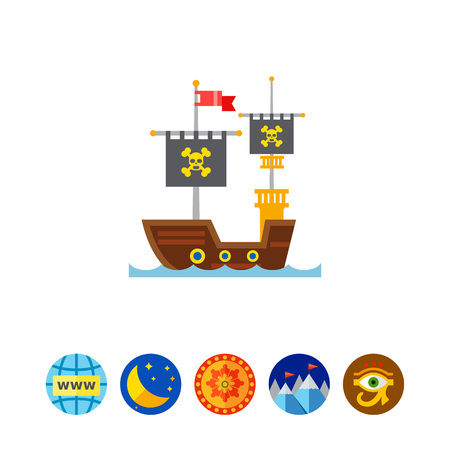 Pirate Ship Icon Illustration