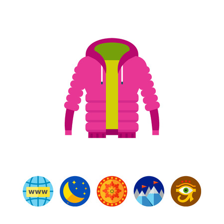 Purple unisex warm down jacket icon