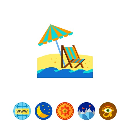 Reclining chair and umbrella icon Illustration