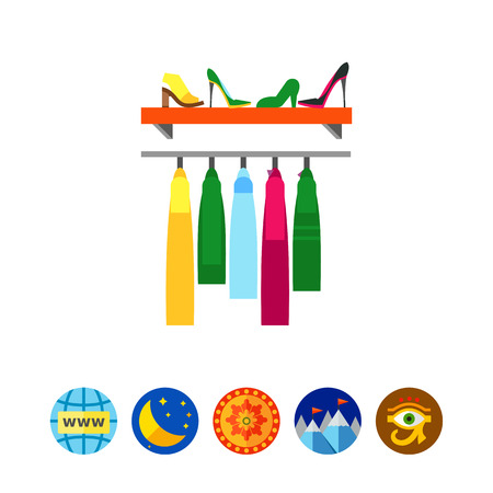 Vector icon of rack with clothes and shoes. Fashion shop, wardrobe, cloakroom. Fashion show concept.