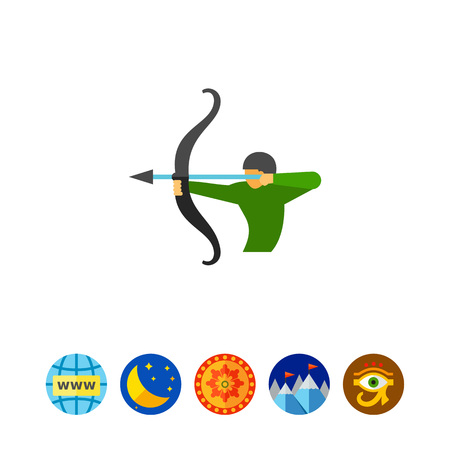firing: Icon of man shooting arrow. Sagittarius, bow, fighting, battle. Astrology concept.
