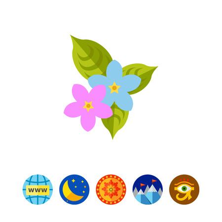 Icon of Sampaguita flowers. Jasminum sambac, scent, tropical flower. Philippines nature concept.