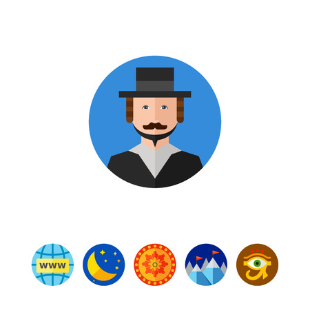 Close up rabbi portrait in circle. Jew, orthodox, traditional. Judaism concept.