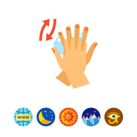 lavamanos: Manos frotando entre los dedos. Limpieza, jabón, hábito. Concepto de lavado de manos. Vectores