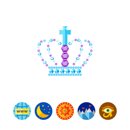 Royal crown in gems vector icon