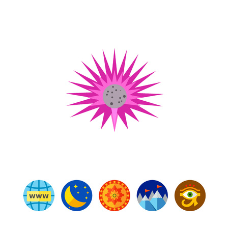 Icon of sea urchin. Ocean, wildlife, animal. Sea life concept. Can be used for topics like traveling, diving, fauna Illustration