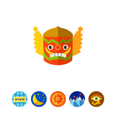 perform: Spooky colorful Thai mask icon Illustration