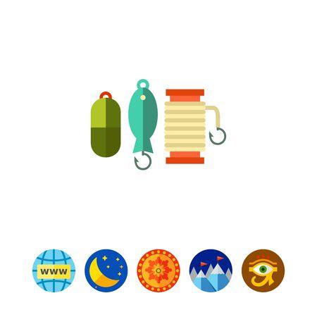 Spoon baits collection vector icon