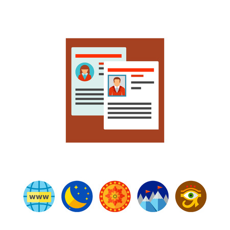 candidates: Vector icon of two employees personal files. Staff reshuffle, resume, career. Head hunting concept. Can be used for topics like business, recruitment, employment