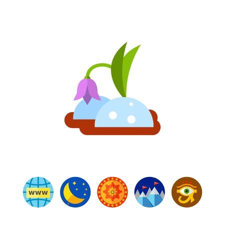 snowdrop: Snowdrop in ground icon Illustration