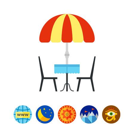Street Cafe Vector Icon Illustration