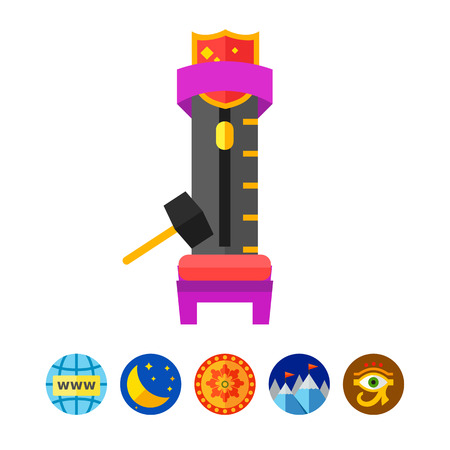 Icon of strength tester with hitting hammer on white background. Carnival game, entertainment, power and strong. Gaming concept. Can be used for topics like gaming, entertainment or carnival