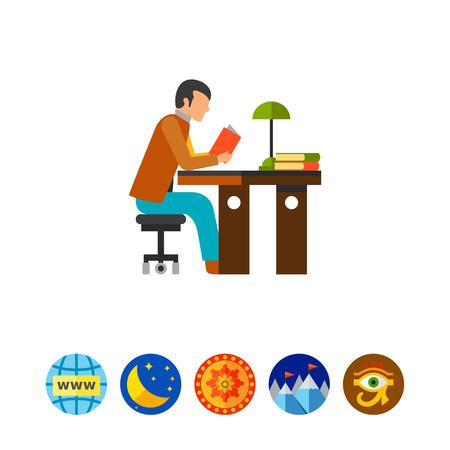 bookworm: Student reading icon Illustration