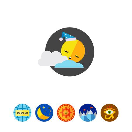 Sun Sleeping Vector Icon