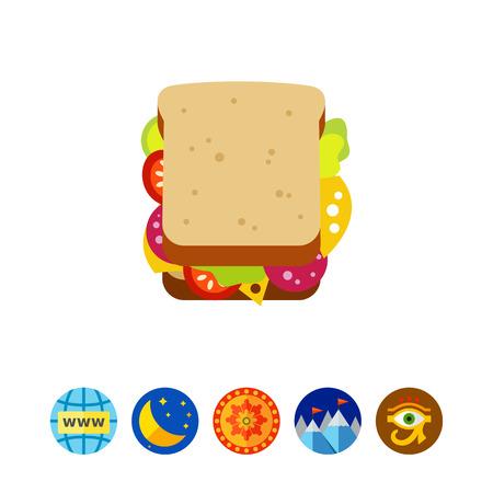Tasty sandwich icon Illustration