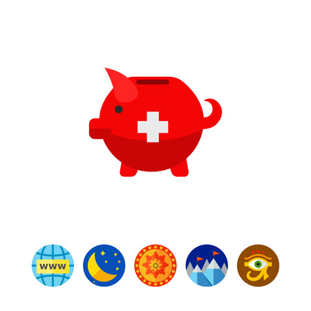 Swiss piggy bank vector icon