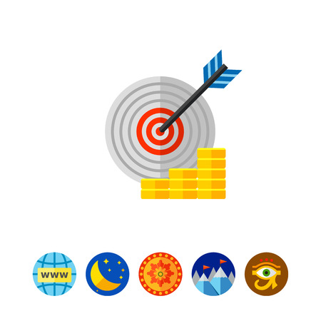 shooting at goal: Target with arrow in center and growing coin stacks. Success, challenge, goal. Achievement concept. Can be used for topics like management, finance, business.