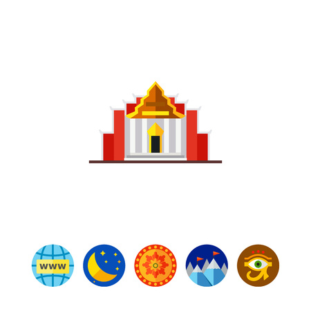 Icon of temple Benchamabophit. Marble temple, palace, facade. Thai culture concept. Can be used for topics like architecture, sightseeing or religion Ilustrace