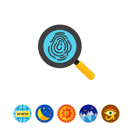 investigating: Thumbprint examination icon Illustration