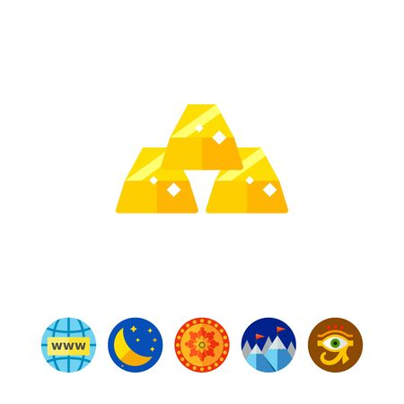 heap: Three Gold Ingots Icon Stock Photo