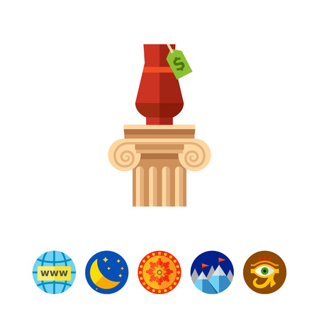 Vase on column as lot vector icon Illustration