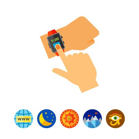 Using Smart Watch Icon Illustration