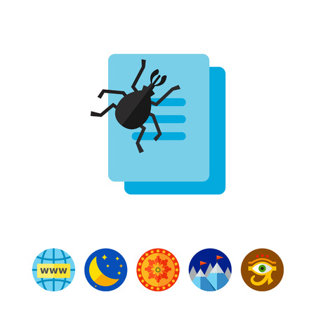Virus as bug eating document file icon