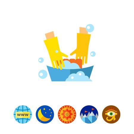 lavamanos: Icono de ropa de lavado Vectores