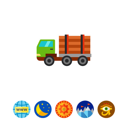 logging: Wood transportation icon Illustration