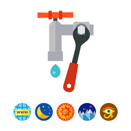 implement: Vector icon of wrench tightening leaking faucet. Pipe repairing, leaking pipe, mixer tap installation. Plumber concept. Can be used for topics like plumbery, plumbing service, maintenance Illustration