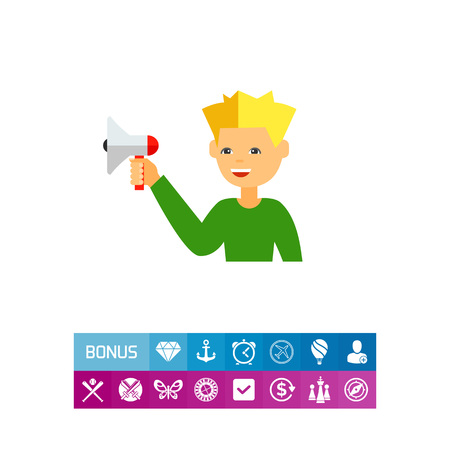 Advertising Man with Megaphone Icon
