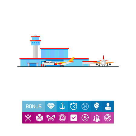 unloading: Airport Terminal and Liners Vector Icon