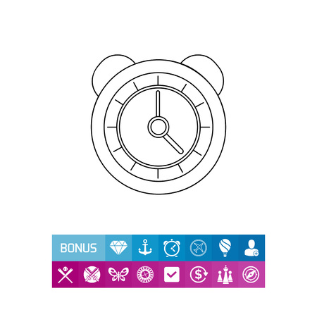 Alarm Clock with Bells Icon Illustration